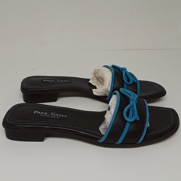 paul green shoes brown turquoise slides poshmark
